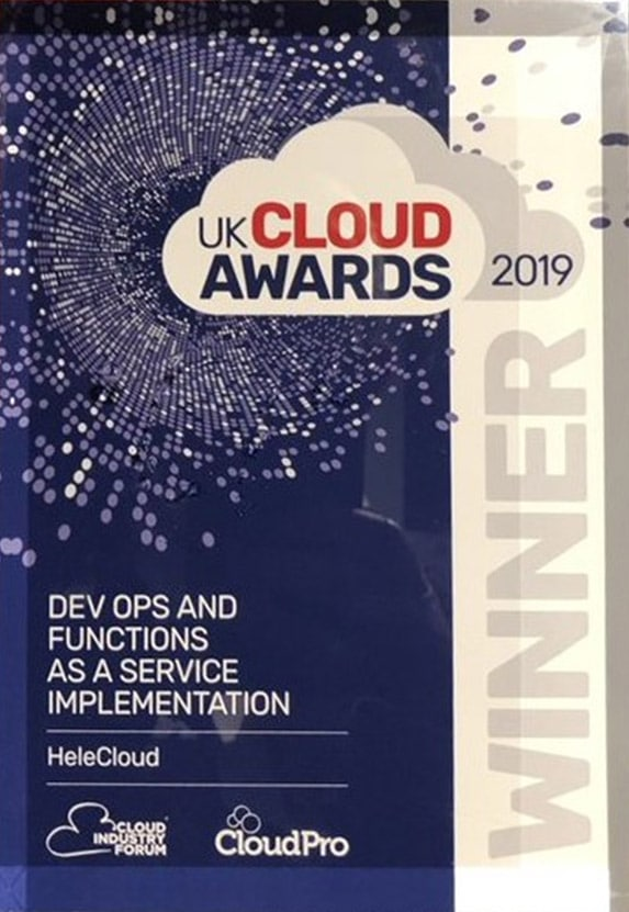 HeleCloud wins best digital transformation project with DevOps at the UK Cloud Awards 2019